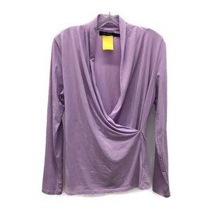 Lauren by Ralph Lauren lavender faux-wrap blouse